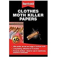 Rentokil Polilla de la ropa del asesino Papers 10 Por Paquete Muertes larvas Huevos