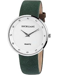 Trend de Wares de mujer reloj de pulsera Blanco Verde Brillantes analógico de cuarzo metal piel mujer reloj Alemán)