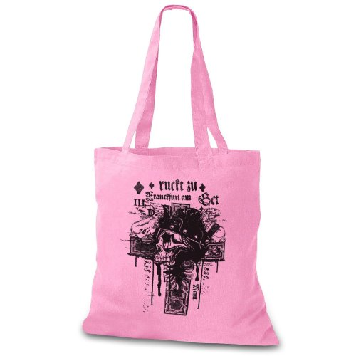 StyloBag Jutebeutel Bad Skull Cross Stofftasche Rosa