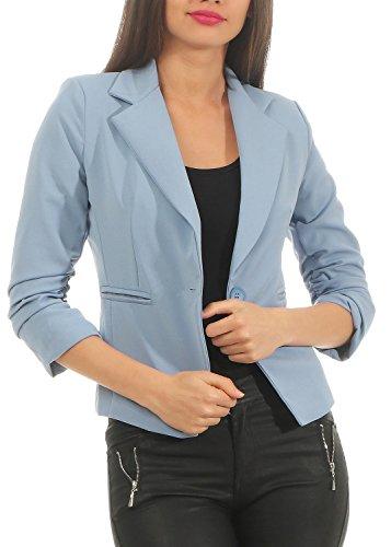 DANAEST Eleganter Damen Blazer Jacke aus Baumwolle für Business Freizeit Party (632), Kostüme & Blazer für Damen:38 / M, Farbe:Pastellblau