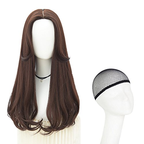 Chang Xiang Ya Shop Perruque féminine frisée Duveteuse Longue Perruque de Mode Brune foncée Perruque Naturelle de Grosse Vague Pleine Perruque