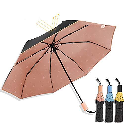 Kobold-Ballett-Sonnenschirm-Regenschirme mit 3 faltendem windundurchlässigem wasserdichtem Anti-UVhelligem Regenschirm für Unisex, neue und einzigartige Reise-Vertrag (Rosa)