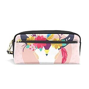 Estuche étnico con diseño de cabeza de toro y flores, bolsa para lápices y artículos de papelería escolar, bolsa de maquillaje para viajes