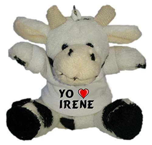 Shopzeus Vaca de Peluche (Llavero) con Amo Irene en la Camiseta (Nombre de Pila/Apellido/Apodo)