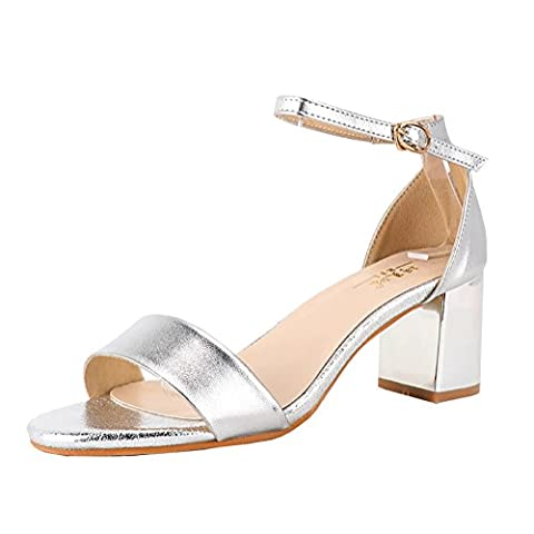 Meeshine Womens Ladies Low Mid Block Heel Ankle Strap Open Toe Strappy Sandals Shoes Size Silver 3.5