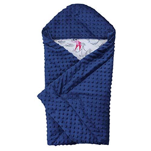 TupTam Baby Winter Einschlagdecke für Babyschale Wattiert, Farbe: Traumfänger Vogel Rosa/Dunkelblau, Größe: ca. 75 x 75 cm
