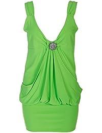 Ladies Mini Broach Party Dress, Neon Green, ML 12-14