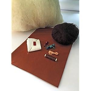 Stoffpuppe DIY Set braun zum Puppen machen nach Waldorf Art Schafwolle zum füllen Haarfarbe dunkel braun Afrika dark brown