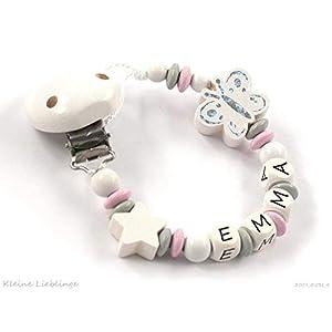 Schnullerkette mit Namen Mädchen Holz 9 Buchstaben - rosa - grau - weiß - Schmetterling - Stern - geprägte Holzbuchstaben - Silikonring - Baby - Taufgeschenk - Mädchen