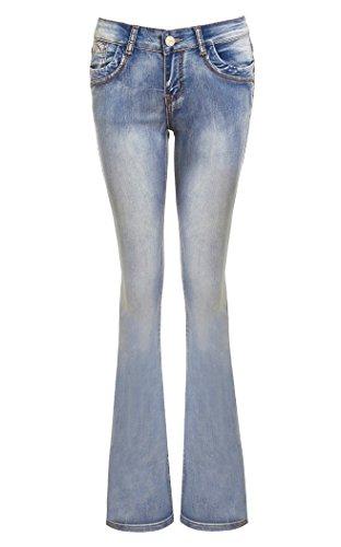 SS7 Damen Boot-Cut Jeanshose blau blau 34 Gr. 34, Stonewash Blue (Leg Flare Wide Jeans)
