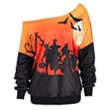 VEMOW Custume Damen Halloween Party Skew Neck Herbst Frühling Kürbis Print Casual Party Täglich Sport Sweatshirt Jumper Pullover Tops(Orange, EU-48/CN-2XL)