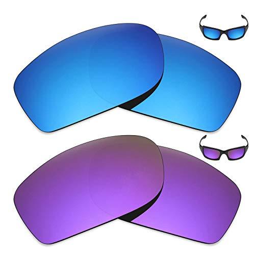 MRY 2Paar Polarisierte Ersatz Linsen für Oakley Fives Squared Sonnenbrille-Reichhaltige Option Farben, Ice Blue & Plasma Purple