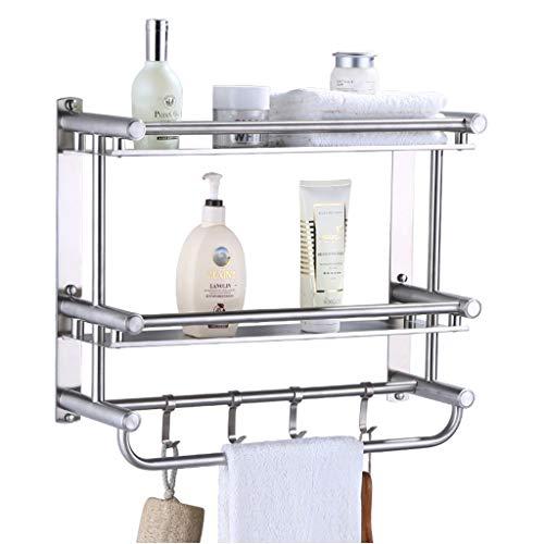 Badezimmer-Regal mit Handtuchhalter und Haken, Edelstahl-Wand-Duschwagen-Ablagekorb für Küche 5.30 (Size : 40cm) (Badezimmer Regal Mit Handtuchhalter Haken)