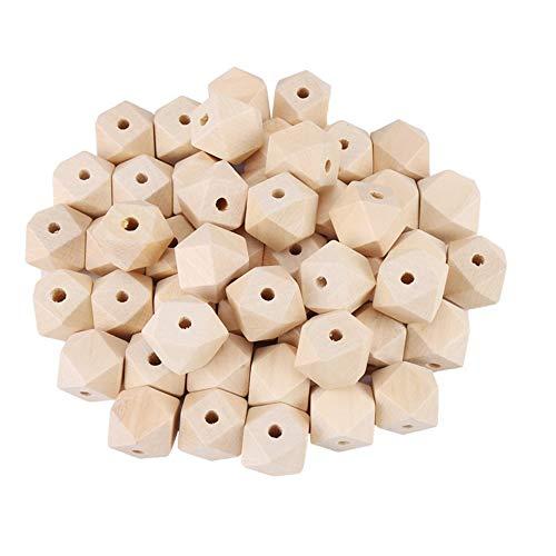 Nuluxi 50 piezas Abalorios Madera Geométrico Madera