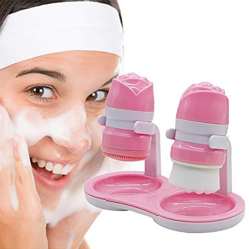 Xiton 2PCS / Set Ultraweiche Borste GesichtsreinigungsbüRstenset Tiefe Pore ReinigungsbüRste Silikon Bilden Entfernung Handbuch MassagebüRste Gesichtspflege Beauty-Tool (Rosa)