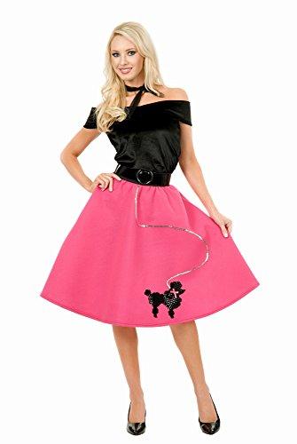Rock Kostüm Pudel Pink - Charades Kost-me 180508 Pudel-Rock, Top & Schal Kost-m - Pink - Medium