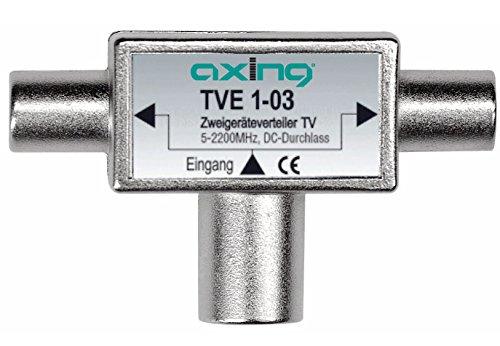 Axing TVE 1-03 TV Zwei-Geräte-Verteiler BK Sat DVB-T2 HD (5-2200 MHz) DC-Durchlass 2x IEC-M und 1x IEC-F