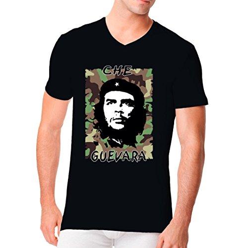 Fun Männer V-Neck Shirt - Che Guevara Camouflage by Im-Shirt Schwarz