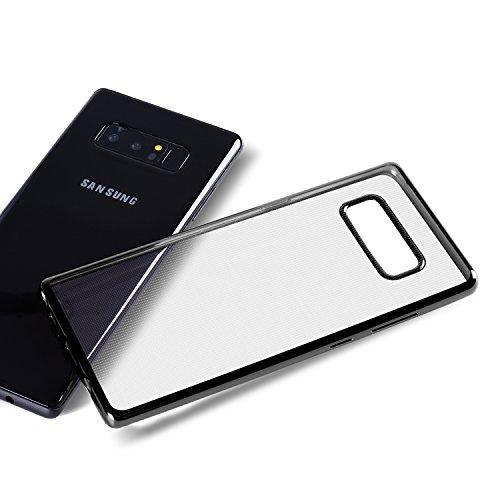 Samsung Galaxy Note 8 Hülle Samsung Note 8 Schutzhülle,Dimi Transparent Ultra Dünn Handyhülle Plating Soft Flex TPU Handyhülle für Samsung Galaxy Note 8 Case Cover Transparent Schwarz