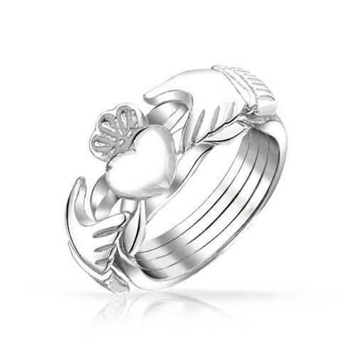 Irish Celtic Trinity Hände Krone Herz Freundschaft Claddagh Puzzle Ring Für Jugendlich Für Damen 925 Sterling Silber