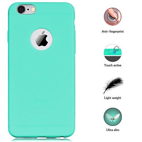 Cover iPhone 6 Plus (5.5),ToDo iPhone 6S Plus Custodia Silicone Ultra Morbido Satinate Opaco Ultra Sottile TPU Flessibile Gomma Cassa Protettiva Gel [Anti-scivolo] [Anti-Graffio] [Antiurto] Leggero C Rosa + Viola + Verde menta