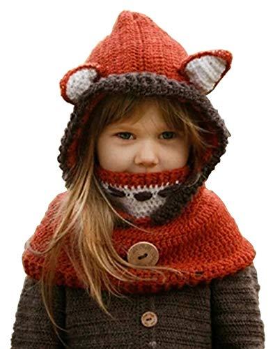 Maison Jardin Fille Enfants Chapeau Hiver Bonnet Fox avec Écharpe Automne  Tricot Chapeau Chaud bf8ea219bd1