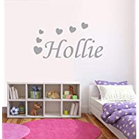 Personalised Hearts Wall Sticker, Any Name, Any Colour, Childs Bedroom (Large 100cm x 50cm, Light Grey)