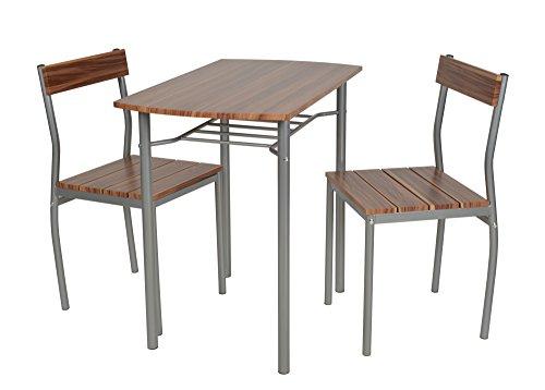 ts-ideen 3-teilige Essgruppe 3er Set Esstisch Küchentisch mit Stühlen aus Alugestell + MDF in silber und braun 76 x 83 cm für Esszimmer Küche