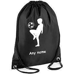 Korect Prints Sac à cordon de serrage personnalisable idéal pour l'école, la gym, la natation, les chaussures de football, les baskets, le ballon, cadeau - Noir - Taille Unique
