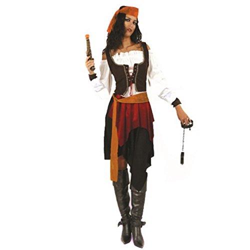 La vogue Piratinnenkostüm Piratenkostüm Kostüm Pirat Piratin Damenkostüm Piratenkleid für Karneval Fasching Halloween
