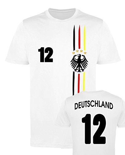 Comedy-Shirts EM WM   M1   Deutschland 12 - Mädchen Trikot - Weiss/Schwarz-Rot-Gelb Gr. 98-104