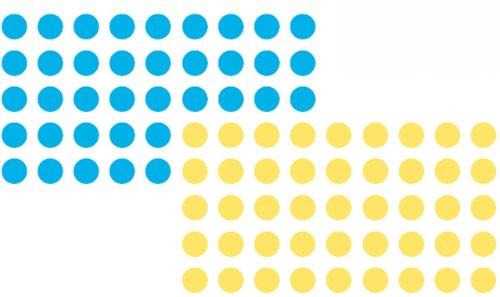 Franken UMZ P19/34 - Pegatinas para moderación, círculos, 19 mm, 520 unidades, colores azul y amarillo