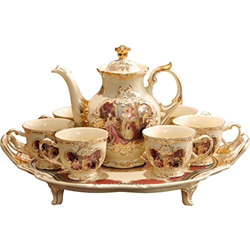 Chinesisches Porzellan im Palaststil 8 Stück Kaffeetasse Kaffee-Set Tee-Set Teekanne, Teetasse, Tablett Geschenk (Farbe : Weiß)