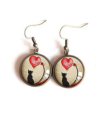 Boucles d'oreilles, pendants, Petit Chat et coeur rouge, bijoux pour femme, fait mains