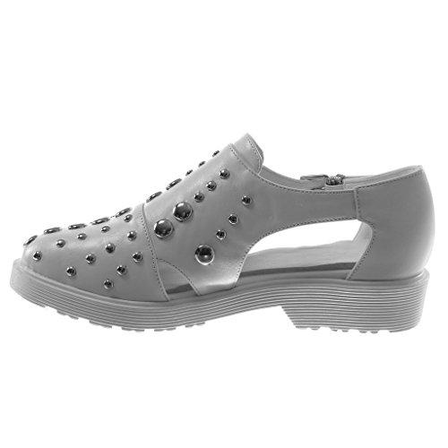 Angkorly Damen Schuhe Derby-Schuh - Offen - Nieten - Besetzt - Perle - Schleife Blockabsatz 3 cm Weiß