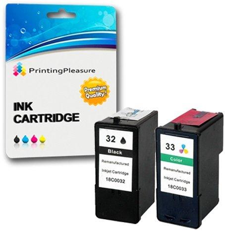 2 Tintenpatronen kompatibel zu Lexmark 32 33 für Lexmark X5470 P4330 P4350 P450 P6250 P6350 P915 X3330 X3350 X5250 X5270 X5450 X7170 Z800 Z805 Z812 Z815 Z816 - Schwarz/Color, hohe Kapazität (Tintenpatronen Lexmark Für X5470)