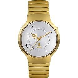 Alessi AL27003 - Reloj analógico de cuarzo unisex, correa de acero inoxidable color dorado