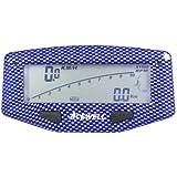 Acewell aCE - 1600CB indicateur de vitesse pour moto avec fonction tachymètre, affichage de la température, jauge de carburant et avertisseur à lED (aspect carbone bleu