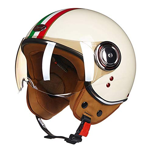 LYJNBB Mezza Casco Moto, Open Face Vintage Harley Caschi con Occhiali Quick Release Strap Fit per Bike Cruiser Scooter ECE Approved White,A,XL