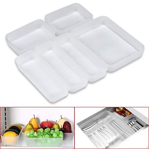 Towinle Schubladen Organizer 6-teiliges Set Ordnungssystem für Küche Büro Schminktisch Kosmetik Variabel Schubladen-Einteiler Trennsystem (Küche Kosmetik)