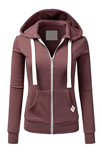 Frauen Zip Hoodie! Sweatshirts Winter Gelegentlich Fit Solid Taschen Tops Weinbereitung S