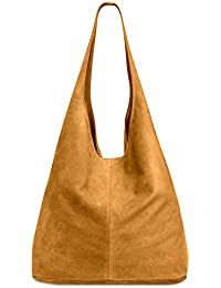 CASPAR TL767 Damen große Vintage Velourleder Tasche Ledertasche Beuteltasche Schultertasche Shopper Handtasche