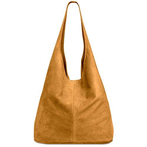 CASPAR TL767 Damen große Vintage Velourleder Tasche Ledertasche Beuteltasche Schultertasche Shopper Handtasche, Farbe:cognac;Größe:One Size (Bag Geprägte Hobo)