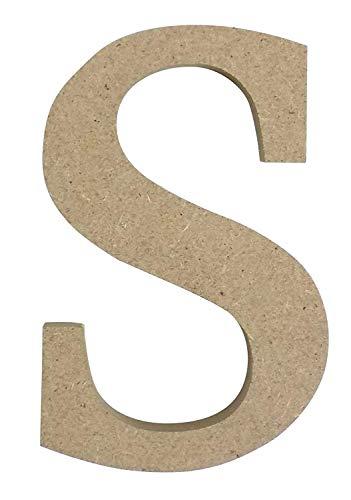 Beige Kleinbuchstaben Buchstaben 'S' Holz MDF H8cm X W5.5cm X D2cm
