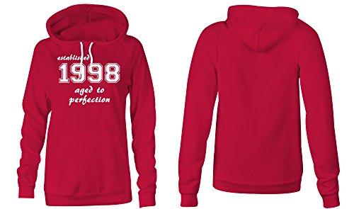 Established 1998 aged to perfection ★ Hoodie Kapuzen-Pullover Frauen-Damen ★ hochwertig bedruckt mit lustigem Spruch ★ Die perfekte Geschenk-Idee (04) rot