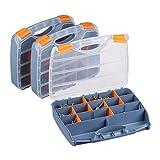 Relaxdays Sortierbox 3er Set, Griff, verschließbarer Werkzeugkasten, Kleinteilebox konfigurierbar, HBT: 6x32x24 cm, grau