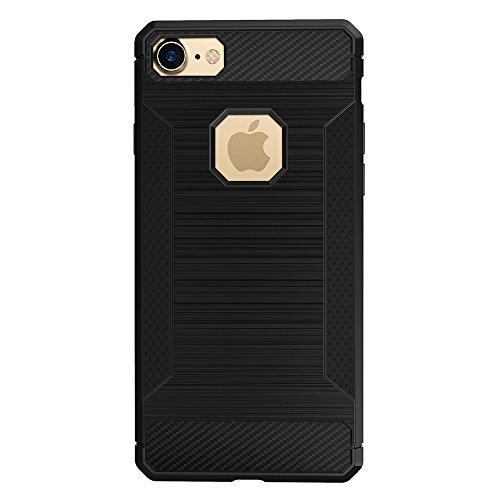 EKINHUI Case Cover Für Apple IPhone 7 Fall Gebürstete Linien Beschaffenheit Karikatur Faser Haltbare Anti-Rutsch TPU Abdeckung Schock-Absorbtion schützende rückseitige Abdeckung ( Color : White ) Black