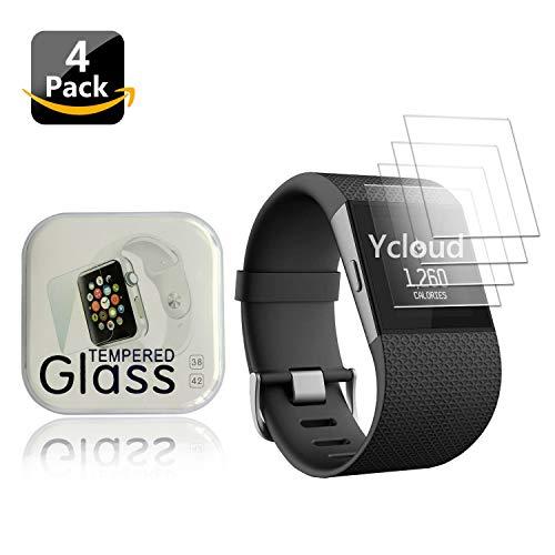 Ycloud [4 Stück Panzerglas Folie Schutzfolie Bildschirmschutzfolie für Fitbit Surge Smartwatch mit Härtegrad 9H, 0,26mm Ultra-Dünn, Abger&ete Kanten
