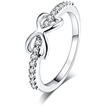 YAZILIND las mujeres de la boda anillos de compromiso de oro blanco plateado banda corazón princesa
