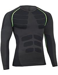 Bwiv Camiseta Hombre Deportiva Camiseta Compresión Hombre Manga Larga Fitness Gimnasio Aire Libre para Entrenamiento Ciclismo Talla M hasta XL 3 Colores